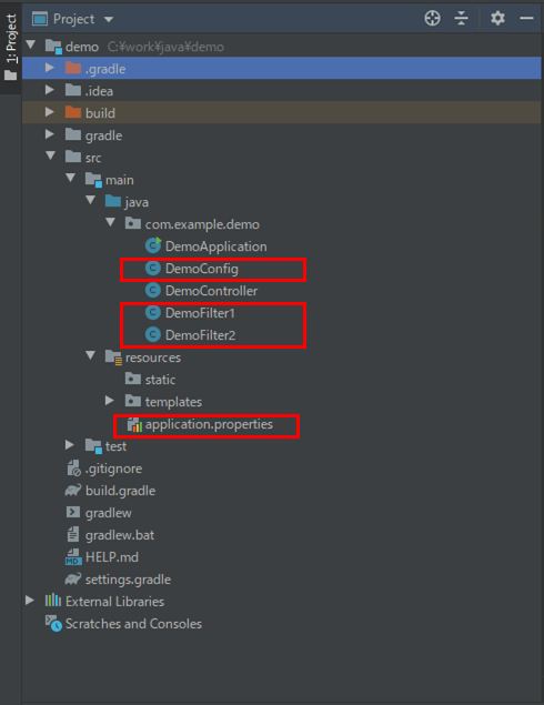 filter1のプログラム構成