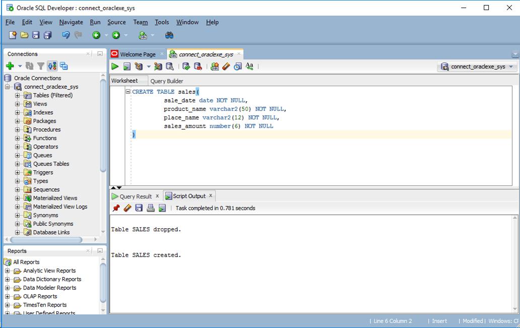 Oracle_createTable実行