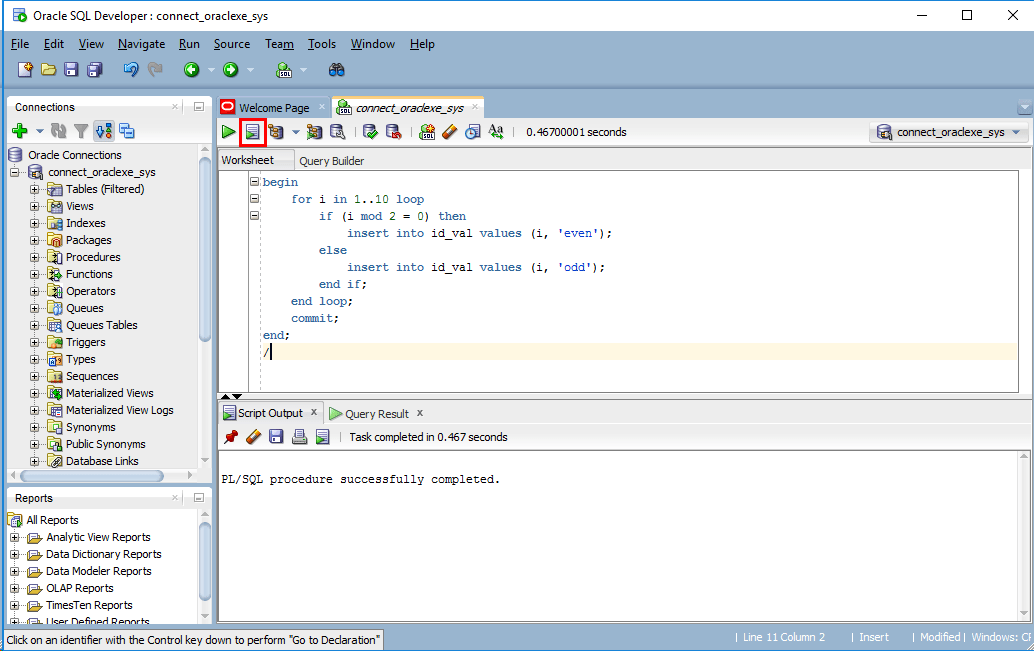 Oracle_PLSQL実行