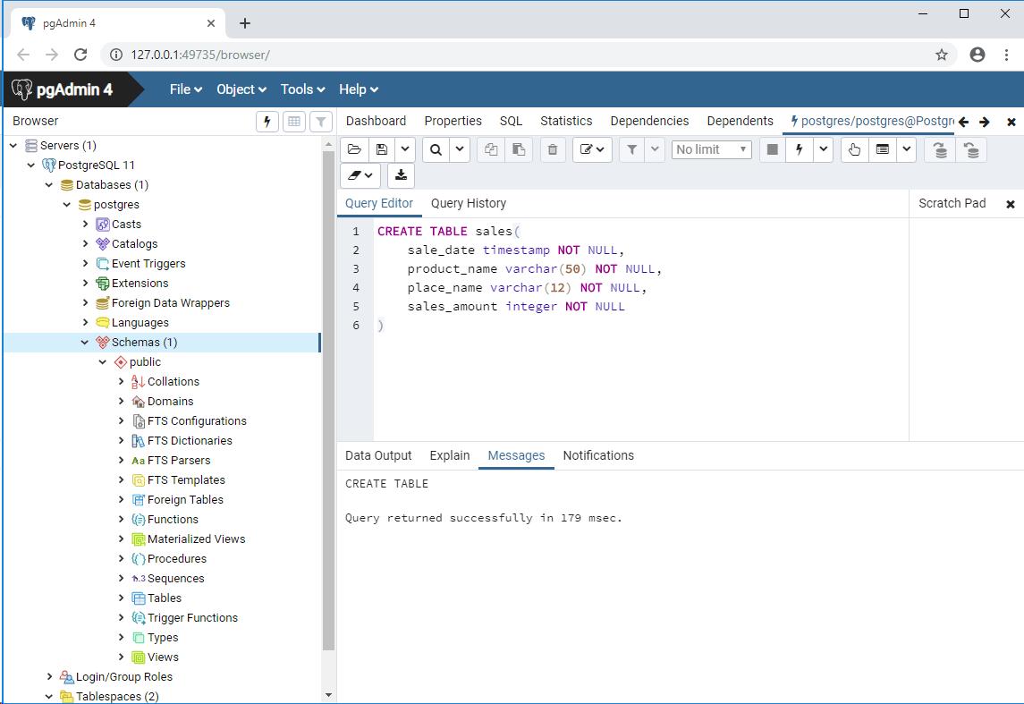 PostgreSQL_createTable実行