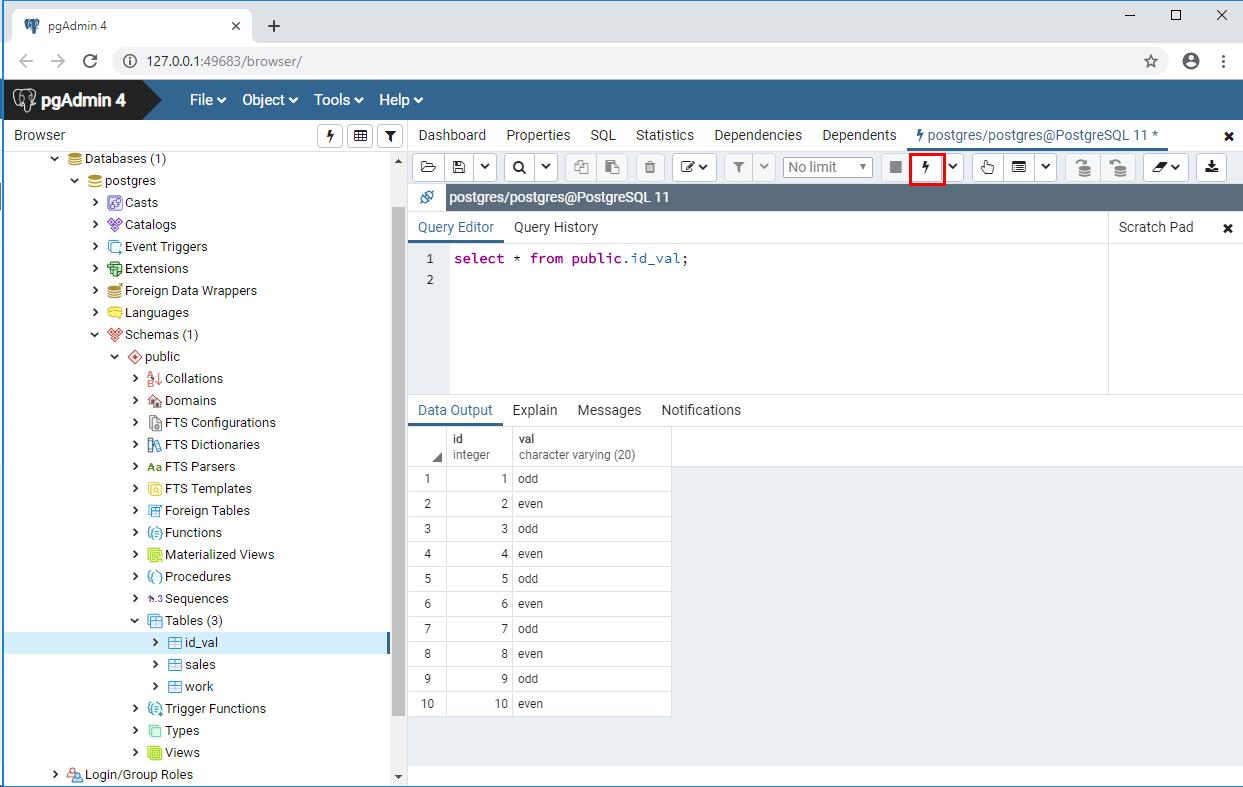 PostgreSQL_plpgsql実行後データ