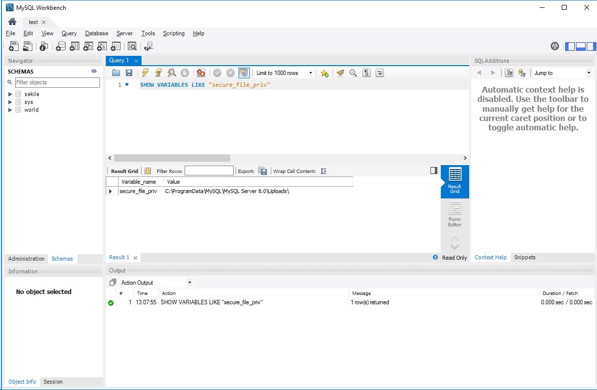 secure_file_privの設定値確認