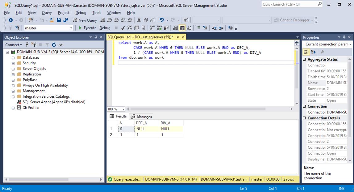 SQLServer_0をnullに置き換えて除算