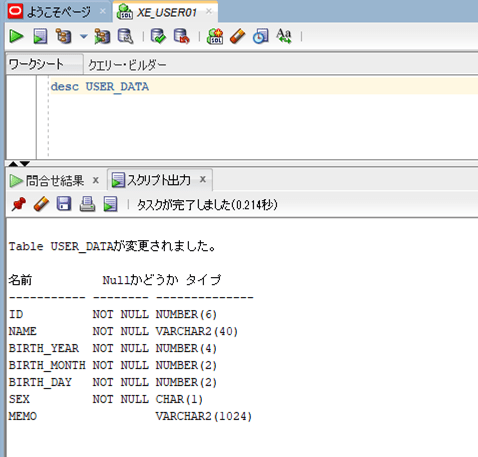 USER_DATAテーブル構成