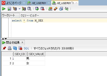 M_SEXテーブルの値