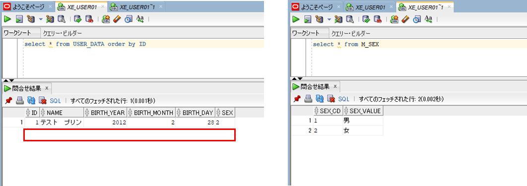 データ削除後のDB
