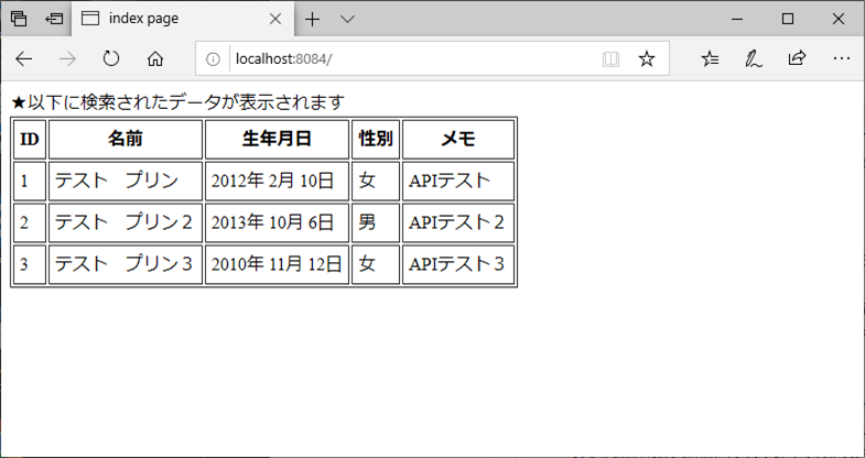 サンプルプログラムの実行結果_クライアント側