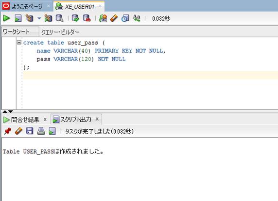 user_passテーブル作成